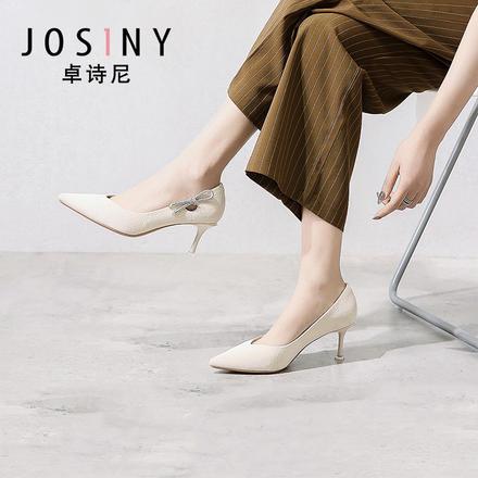 卓诗尼2020新款尖头高跟侧边小钻蝴蝶结装饰时装单鞋