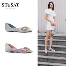 ST&SAT/星期六新款尖头低跟假面装饰单鞋