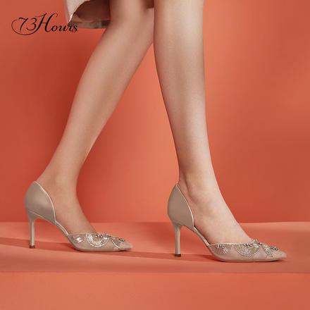 73Hours女鞋蒲公英鞋子2020年新款法式尖头婚鞋新娘鞋