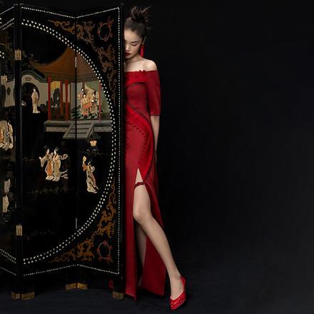 73Hours女鞋柿柿如意手工刺绣红色新娘中式婚鞋秀禾鞋