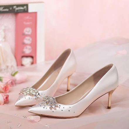 73Hours女鞋Hebe春秋水鉆白色婚鞋女婚宴鞋