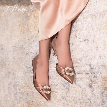 73Hours女鞋Rhea气质细跟水钻饰扣高跟鞋宴会结婚仙女