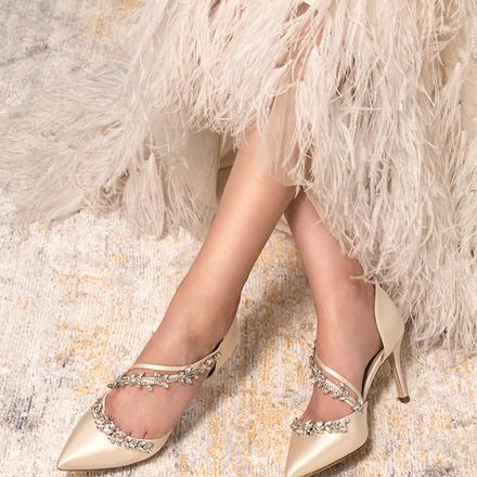 73Hours女鞋Metis婚鞋春夏新娘后跟拉链水钻细跟婚鞋