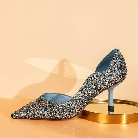 Laber Three公主鞋亮片蓝色细跟婚纱高跟鞋水晶婚鞋