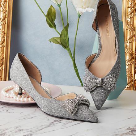 Laber Three低跟鞋女蝴蝶结法式单鞋尖头水晶婚鞋