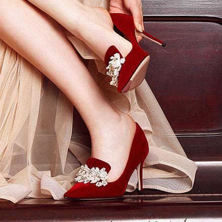 LaberThree大红色秀禾服婚鞋女中高跟尖头单鞋