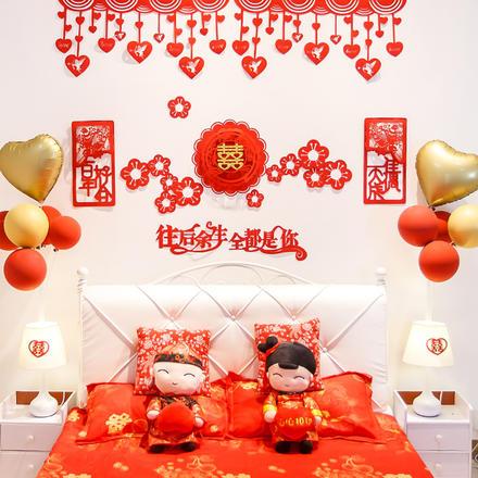 新中式创意中式墙贴婚房装饰