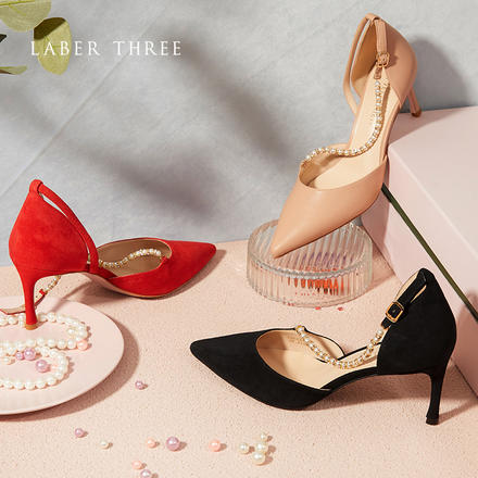 Laber Three仙女高跟鞋珍珠钻链仙女风尖头婚鞋