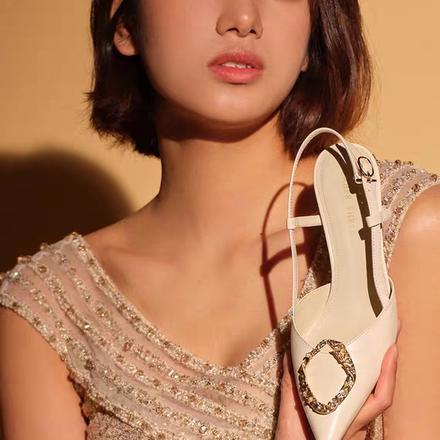 Laber Three2020春夏细高跟鞋尖头仙女风法式婚鞋