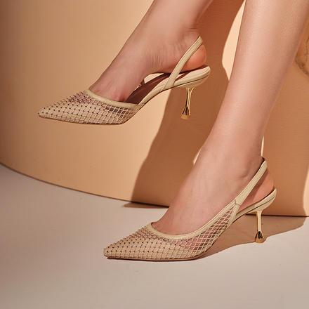 Laber ThreeCrystal网面气质水钻仙女风婚鞋
