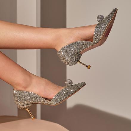 Laber Three仙女风单鞋公主水晶鞋钻球尖头细跟婚鞋