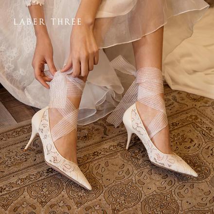 laberthree芥末高跟鞋公主范丝带蕾丝仙女风婚鞋