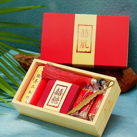 网红抖音中式喜礼木盒伴手礼