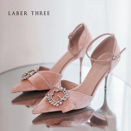 Laber Three公主水晶鞋水钻尖头细跟一字带婚鞋