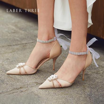 Laber Three仙女风珍珠方扣浅口水钻一字带婚鞋