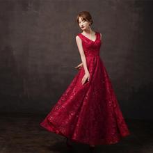 新款酒红色高端显瘦长款敬酒服