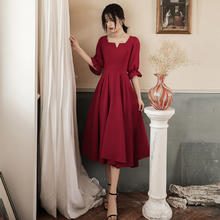 春秋季酒红色显瘦日常可穿敬酒服
