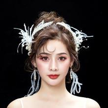森系手工缝制羽毛水晶串珠发夹套装
