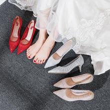 高跟仙气网纱婚鞋女 亮闪闪结婚鞋子公主新娘鞋