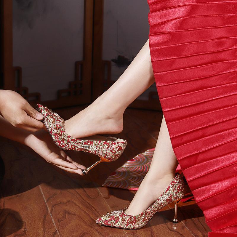 【直播秒杀】高跟敬酒婚鞋 猫跟新款中式复古新娘鞋结婚鞋子