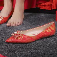 中式韵味 平底龙凤扣女婚鞋 孕妇可穿刺绣婚鞋