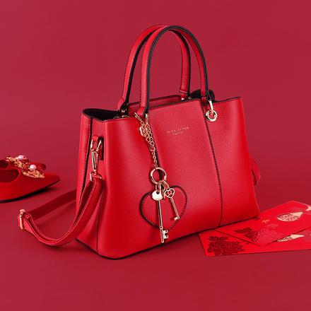 【預售9.24號發貨】 愛心雙鑰匙掛件大容量時尚新娘婚包