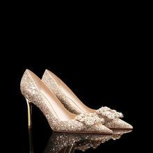 高端婚鞋  经典水钻方扣奢华新娘婚纱婚鞋亮片高跟鞋
