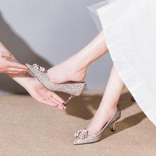 法式亮片圆扣高跟鞋 | 满足公主梦灰姑娘水晶婚鞋