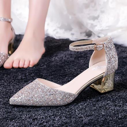 水晶婚鞋女粗跟婚紗新娘鞋  一字扣帶孕婦結婚鞋