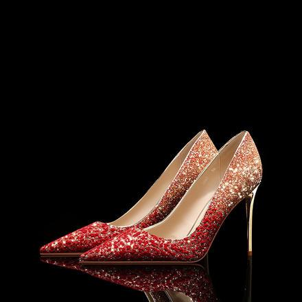 高端婚鞋 秀禾鞋水晶婚鞋 新款红色渐变高跟鞋女结婚新娘敬酒鞋