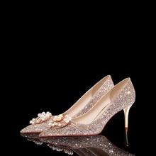 高端婚鞋 水晶婚鞋婚纱新娘鞋子 新款珍珠扣高跟鞋