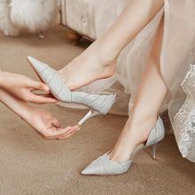 水晶鞋细跟法式婚纱新娘鞋 花瓣侧空公主婚纱亮片高跟鞋