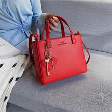 经典红色小方包  双钥匙挂件手提斜跨新娘婚包