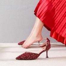 秋冬新款  小香风一字扣带结婚新娘鞋子酒红色高跟鞋