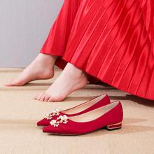 珍珠扣孕妇秀禾服敬酒鞋 平底婚鞋红秀禾新娘鞋