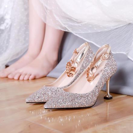 主纱婚鞋水晶鞋 新款婚纱新娘结婚高跟鞋女小清新绑带婚宴礼服鞋