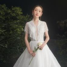 法式气质星空超仙梦幻显瘦深V婚纱