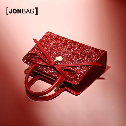 簡佰格  紅色星星亮片新娘包包大容量婚禮手提包
