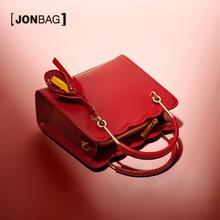 简佰格 大容量手提包女婚礼波浪边装饰红色百合婚包