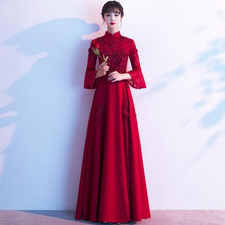 秋冬季长袖酒红色长款敬酒服