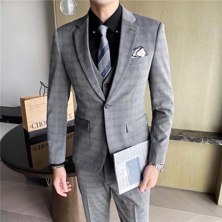 【送衬衫领结领带】新郎韩版单排扣修身西服套装