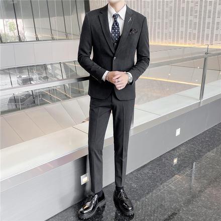 【送衬衫领结领带】新郎婚礼西服单排扣细条纹套装