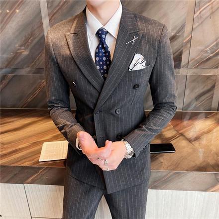 【送衬衫领结领带】新款男士韩版修身格子三件套