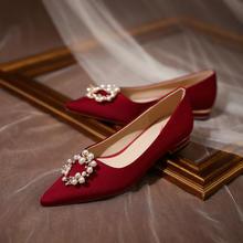 孕妇婚鞋女平底结婚鞋子新娘鞋 新款伴娘红鞋平时可穿低跟单鞋