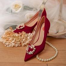 酒红色高跟鞋婚鞋 新款中式婚礼秀禾服鞋子结婚红鞋女回门鞋