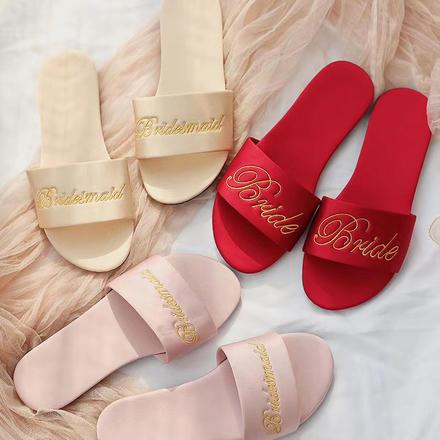 ins风室内拍照晨袍配套拖鞋  新娘伴娘婚礼