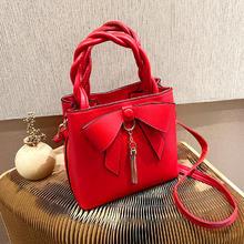 红色蝴蝶结新娘专属婚包 大容量洋气婚礼用手提大气时尚