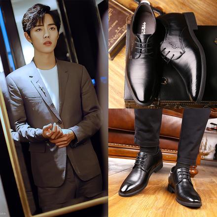 明星同款 含内增高共6cm英伦尖头新郎婚鞋皮鞋
