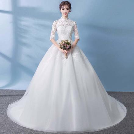 中式立领复古蕾丝中袖婚纱?送三件套