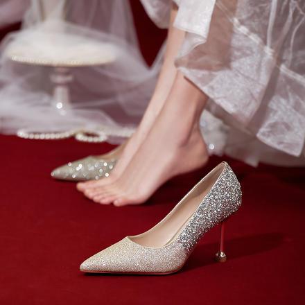 新款日??纱┝疗吒? 水晶鞋婚鞋细跟主婚纱新娘鞋